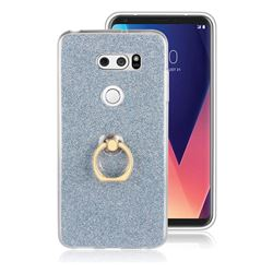 Luxury Soft TPU Glitter Back Ring Cover with 360 Rotate Finger Holder Buckle for LG V30 - Blue