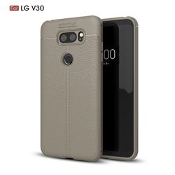 Luxury Auto Focus Litchi Texture Silicone TPU Back Cover for LG V30 - Gray