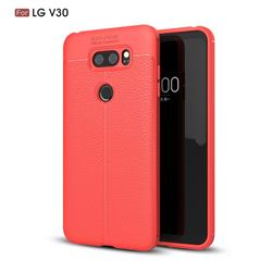 Luxury Auto Focus Litchi Texture Silicone TPU Back Cover for LG V30 - Red