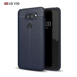 Luxury Auto Focus Litchi Texture Silicone TPU Back Cover for LG V30 - Dark Blue