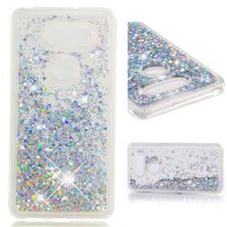 Dynamic Liquid Glitter Quicksand Sequins TPU Phone Case for LG V30 - Silver