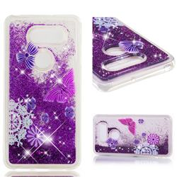 Purple Flower Butterfly Dynamic Liquid Glitter Quicksand Soft TPU Case for LG V30