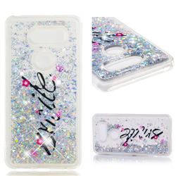 Smile Flower Dynamic Liquid Glitter Quicksand Soft TPU Case for LG V30