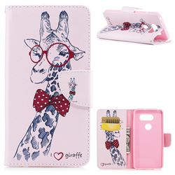 Glasses Giraffe Leather Wallet Case for LG V30