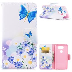 Butterflies Flowers Leather Wallet Case for LG V30