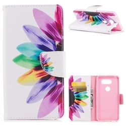 Seven-color Flowers Leather Wallet Case for LG V30