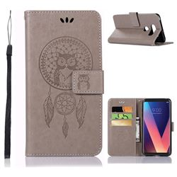 Intricate Embossing Owl Campanula Leather Wallet Case for LG V30 - Grey