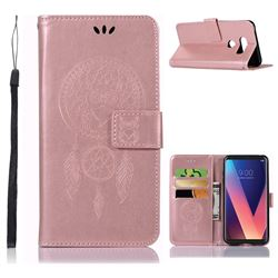 Intricate Embossing Owl Campanula Leather Wallet Case for LG V30 - Rose Gold