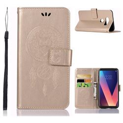 Intricate Embossing Owl Campanula Leather Wallet Case for LG V30 - Champagne
