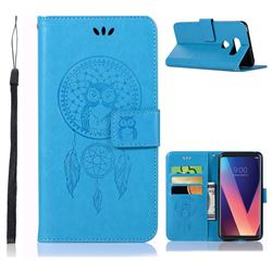 Intricate Embossing Owl Campanula Leather Wallet Case for LG V30 - Blue