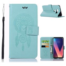 Intricate Embossing Owl Campanula Leather Wallet Case for LG V30 - Green