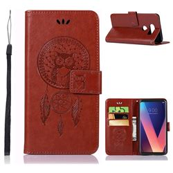 Intricate Embossing Owl Campanula Leather Wallet Case for LG V30 - Brown