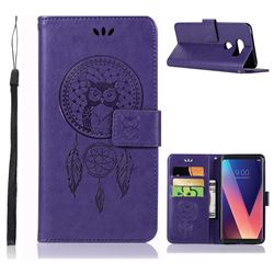 Intricate Embossing Owl Campanula Leather Wallet Case for LG V30 - Purple