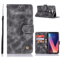Luxury Retro Leather Wallet Case for LG V30 - Gray