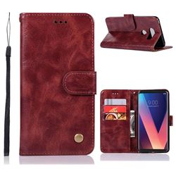 Luxury Retro Leather Wallet Case for LG V30 - Wine Red
