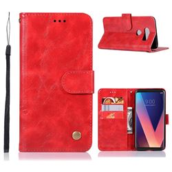 Luxury Retro Leather Wallet Case for LG V30 - Red