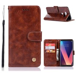 Luxury Retro Leather Wallet Case for LG V30 - Brown