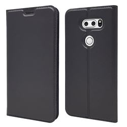 Ultra Slim Card Magnetic Automatic Suction Leather Wallet Case for LG V30 - Star Grey