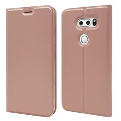 Ultra Slim Card Magnetic Automatic Suction Leather Wallet Case for LG V30 - Rose Gold