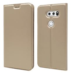 Ultra Slim Card Magnetic Automatic Suction Leather Wallet Case for LG V30 - Champagne