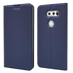 Ultra Slim Card Magnetic Automatic Suction Leather Wallet Case for LG V30 - Royal Blue