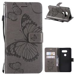 Embossing 3D Butterfly Leather Wallet Case for LG V30 - Gray