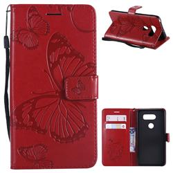 Embossing 3D Butterfly Leather Wallet Case for LG V30 - Red