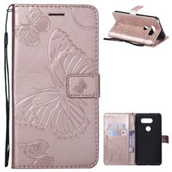 Embossing 3D Butterfly Leather Wallet Case for LG V30 - Rose Gold