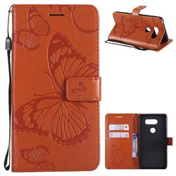 Embossing 3D Butterfly Leather Wallet Case for LG V30 - Orange