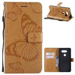 Embossing 3D Butterfly Leather Wallet Case for LG V30 - Yellow