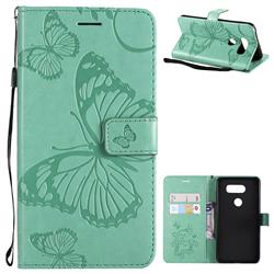Embossing 3D Butterfly Leather Wallet Case for LG V30 - Green