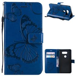 Embossing 3D Butterfly Leather Wallet Case for LG V30 - Blue