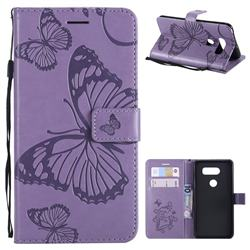 Embossing 3D Butterfly Leather Wallet Case for LG V30 - Purple