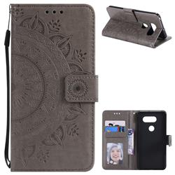 Intricate Embossing Datura Leather Wallet Case for LG V30 - Gray