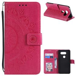 Intricate Embossing Datura Leather Wallet Case for LG V30 - Rose Red
