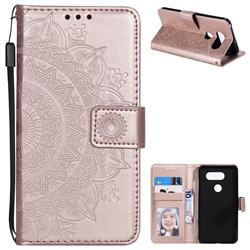 Intricate Embossing Datura Leather Wallet Case for LG V30 - Rose Gold