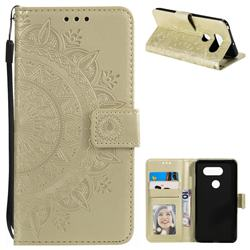 Intricate Embossing Datura Leather Wallet Case for LG V30 - Golden