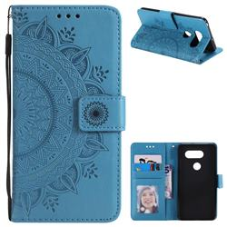Intricate Embossing Datura Leather Wallet Case for LG V30 - Blue