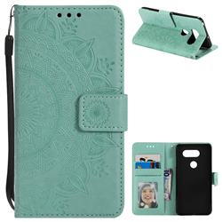 Intricate Embossing Datura Leather Wallet Case for LG V30 - Mint Green