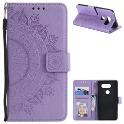 Intricate Embossing Datura Leather Wallet Case for LG V30 - Purple