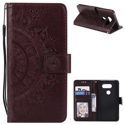 Intricate Embossing Datura Leather Wallet Case for LG V30 - Brown