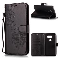 Intricate Embossing Dandelion Butterfly Leather Wallet Case for LG V30 - Black