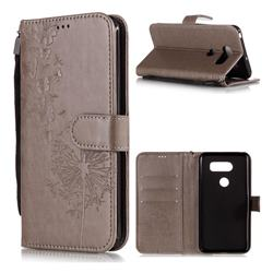 Intricate Embossing Dandelion Butterfly Leather Wallet Case for LG V30 - Gray