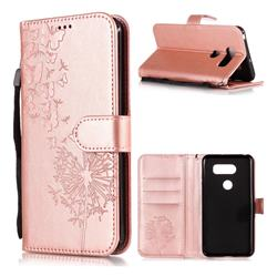 Intricate Embossing Dandelion Butterfly Leather Wallet Case for LG V30 - Rose Gold