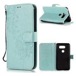 Intricate Embossing Dandelion Butterfly Leather Wallet Case for LG V30 - Green
