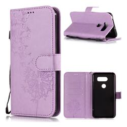 Intricate Embossing Dandelion Butterfly Leather Wallet Case for LG V30 - Purple