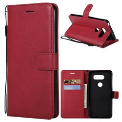 Retro Greek Classic Smooth PU Leather Wallet Phone Case for LG V30 - Red