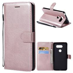 Retro Greek Classic Smooth PU Leather Wallet Phone Case for LG V30 - Rose Gold