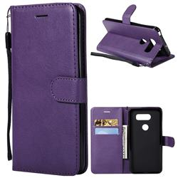 Retro Greek Classic Smooth PU Leather Wallet Phone Case for LG V30 - Purple