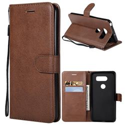 Retro Greek Classic Smooth PU Leather Wallet Phone Case for LG V30 - Brown